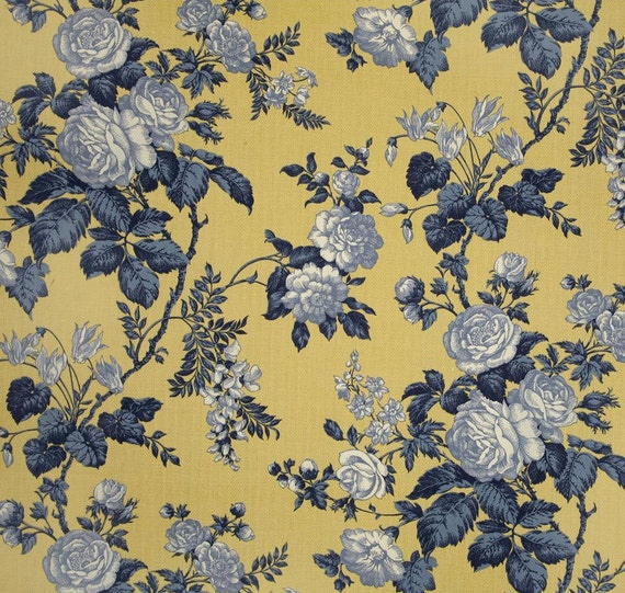 French Country Curtains, Blue Yellow Floral Drapes, French Cottage ...
