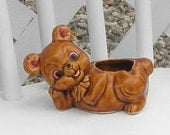 Teddy Bear Ashtray Planter Vintage Ceramic Pottery