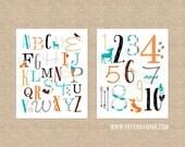 ABC Nursery Art, Numbers Nursery Art, Woodland Nursery, Animal Nursery Decor, Kids Playroom Art // Art Print or Canvas // N-XW17-2PS AA1