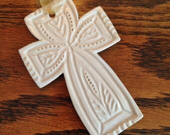 Cross Ornament in Bright White - Ceramic Stoneware Pottery