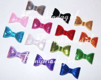 Sequin 2 inch Bow Tie Hair Clip Barrette Choose Your Color Custom Turquoise Blue Shocking Pink Black Gold Red Purple Orange Silver Green