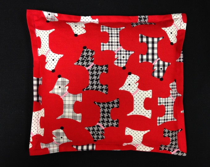 Corn Bag, Microwavable Heating Pad, Hot Cold Therapy Bag, Corn Pillow, Bed Warmer, Get Well Gift, Heated Bag, Bed Warmer - Scottie Dog Red