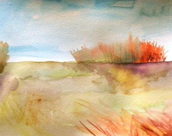 "Watercolor Painting, Landscape, Original Art, Forest and Meadow, 9""x12"""