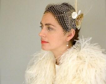 Bird Cage Veil, Hair Piece, Custom Bridal Birdcage Veil with Detachable Floral Comb, Custom Wedding Head Piece, Rhinestone Veil, Floral Comb