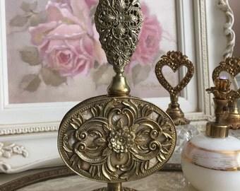 Vintage Ormolu Gold Filagree Large Stunning Perfume Bottle With Glass Dabbler - Mother Of Pearl - Boudoir Dressing Room