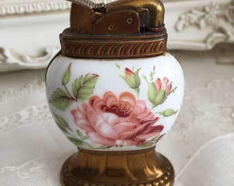 Vintage Porcelain Pink Rose Lighter - Shabby Chic - Paris - French