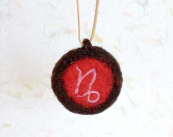 Capricorn Necklace, January Zodiac Sign, Needle Felted Zodiac pendant, Horoscope round pendant charm, zodiac necklace, zodiacal symbols, fun