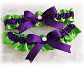 Lemongrass and deep purple bridal satin garter set, purple and green weddings or prom garters