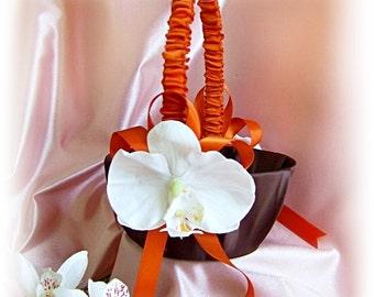 Wedding flower girl basket, chocolate brown and burnt orange wedding decorations.