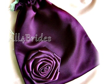Bridal wedding money dance bag, eggplant purple and green drawstring bag.
