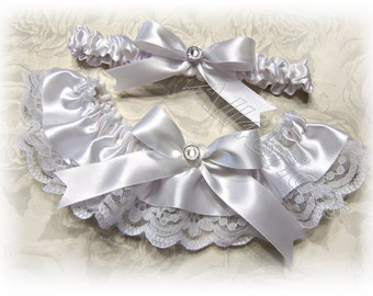 Weddings, lace bridal garter set, white lace and satin wedding keepsake and toss garters.