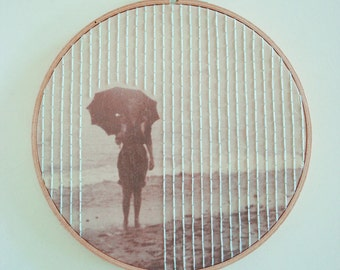 Embroidered Pattern on Found Vintage Photograph Fabric Hoop