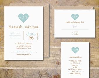 Printable Wedding Invitations, DIY Wedding Invitations, Wedding Invitation Template, Heart Wedding Invitations, PDF, Digital File - Romance