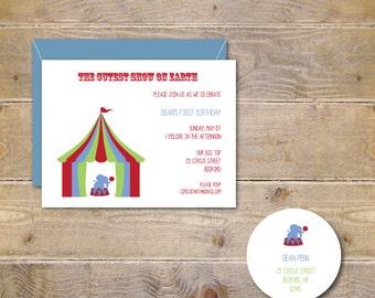 Circus invitations, Circus Birthday Invitations, Circus Party Invitations, First Birthday Invitations, Second Birthday - Circus Elephant