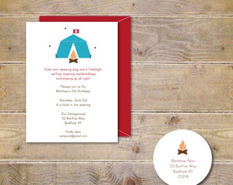 Camping Birthday Invitations, Camp Party, Fifth Birthday Invitations, Sixth Birthday Invitation, Seventh, Bonfire Invitations -Camping Party