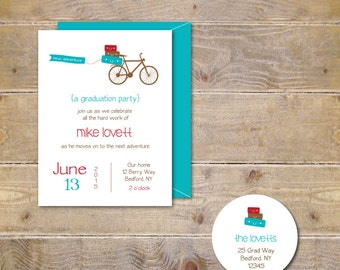 Graduation Invitiations, College Graduation, High School Graduation Invitation, Graduation Party Invitation, Going Away Party -New Adventure