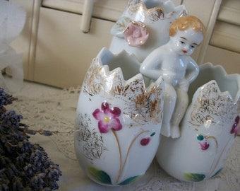Charming Vintage Egg Vase, Porcelain Egg Vase, Vintage Easter Decorations