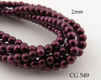 2mm Czech Glass Pearls Burgundy Round (CG 549) BlueEchoBeads 50pcs