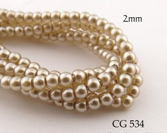 2mm Czech Glass Pearls Light Tan Beige Round (CG 534) 50pcs BlueEchoBeads