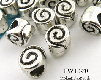 9mm Large Hole Pewter Spiral Beads,Antique Silver (PWT 370) 10 pcs BlueEchoBeads