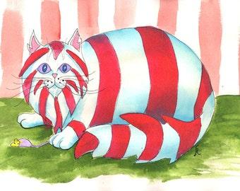 Cat Art print, whimsical cat, silly, funny kitty, kids room, striped kitten, playing cat, feline art, fat cat, Nursery art, 8 x 10, P145