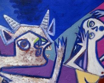 Original painting, mythological, Pan's frightful scream, 33 x 21.5 ins, 84 x 59.5 cm