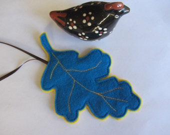 Felt Woodland Blue Oak Leaf Ornament