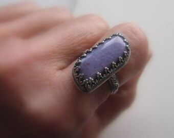 Sterling Silver and Purple Gemstone Ring, Floral Ring Band, Purple Charoite Ring Size 7.25