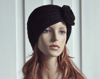 Hand Knit Hat Wool black hat Beret Hat crochet flower - ready to ship