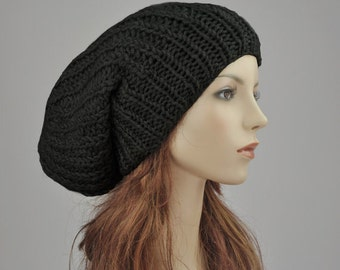 Hand knit hat - Oversized Chunky Wool Hat, slouchy hat in black - ready to ship