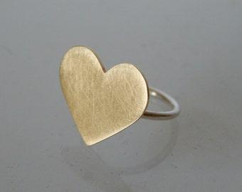 Brass Heart Ring, Black Heart Ring, Giant Heart Ring,  Statement Ring, Gold Heart RIng, Statement Ring, Mixed Metal Ring, Heart Ring