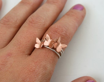 Stacking Ring Set, Butterfly Ring Set, Copper Butterfly Rings, Set of Three Rings, Flying Butterflys, Butterfly Jewelry, Gift For Her, 925