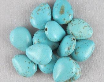 Blue Magnesite 16mm x 12mm Teardrop Beads - 13 pieces #G6-9