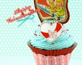 Fake Cupcake with Vintage Valentine Image. Retro Space Cadets Valentine. Fab Valentine's Day Gift for Her. READY TO SHIP!