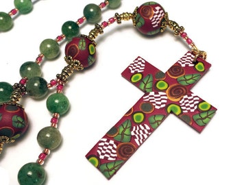 Green Aventurine Anglican Prayer Beads Protestant Rosary Pantone Marsala Handmade Polymer Clay Focals Spirituality & Religion