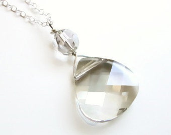 Crystal Silver Shade Briolette Necklace - designed with SWAROVSKI® Crystals
