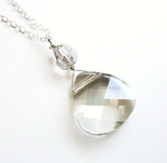 Crystal Silver Shade Briolette Necklace - designed with SWAROVSKI® Crystals