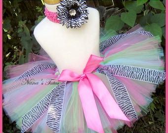 Pastel Zebra, Tutu, Birthday Tutu, Party Tutu, Photo Shoots, Gift in Sizes to 6yrs