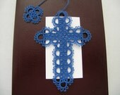 Blue Tatted Lace Cross Bible Bookmark