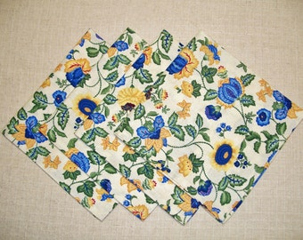 SALE - Blue & Yellow Floral Cotton Cloth Dinner Napkins, Set of 4 Napkins, Eco Friendly Re-usable Cloth Napkins, Made in the USA