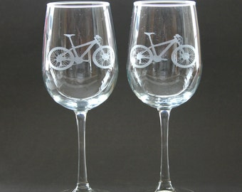 Cycling Etched Wine Glasses Engraved Bicycle Wine Glasses Mountain Bike