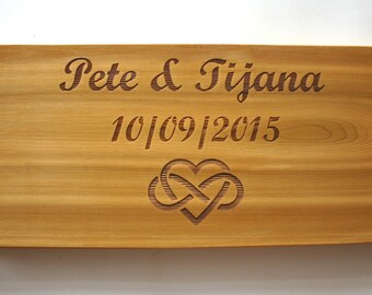 Infinity Heart Custom Engraved Cedar Sign Laser Engraved Wood Sign Personalized Rustic Wedding Sign
