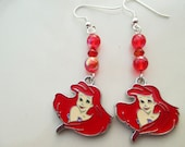 Princess Ariel Disney Earrings in Pink and Blue