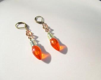 Handmade Christmas Light Bulb Earrings in Orange Holiday xmas