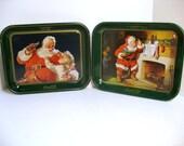2 Vintage Coca Cola Santa Claus Trays Coke Christmas Trays 1983