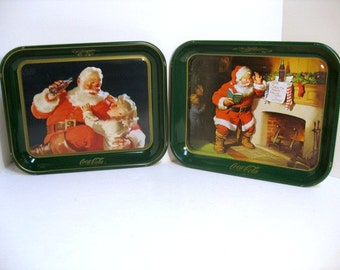 2 Vintage Coca Cola Santa Claus Trays Coke Christmas Trays 1983