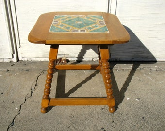 Vintage California Tile Table Mission Side Table End Table Malibu Monterey