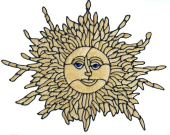Golden Sun Daux Stained Glass Window Cling