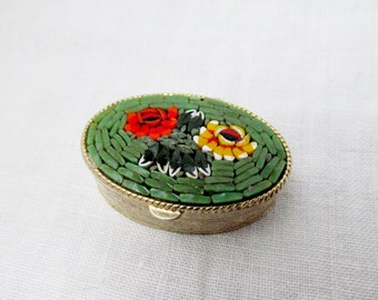 Micro Mosaic Pill Box Green Floral Italian Micromosaic Pillbox Italy Oval