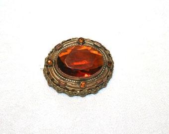 Vintage Brooch Rootbeer Topaz Art Nouveau Glass Stones